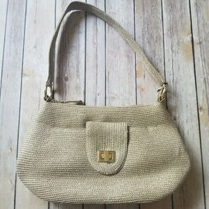 TALBOTS gold fabric bag